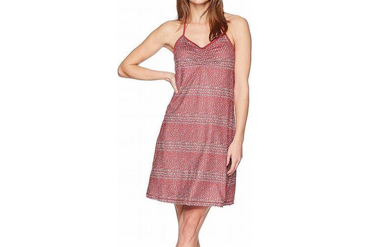 prAna Women's Dress Cherry Red White Size XL Shift Elixer Racerback