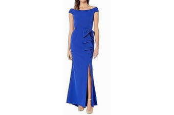 Vince Camuto Women's Dress Blue Size 14 Gown Ruffled Off-the-Shoulder