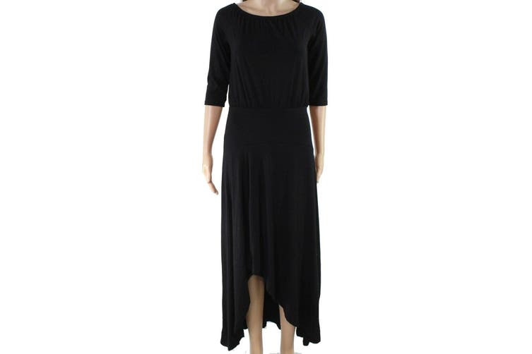 American Rose Women's Dress Solid Black Size Large L Maxi High-Low