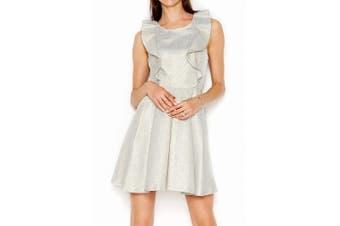 BCBG Generation NEW Blue Gold Women's Size 4 Sheath Ruffle Dress