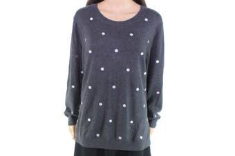 J.Crew Mercantile Women's Sweater Gray Size XXL Plus Dot Crewneck