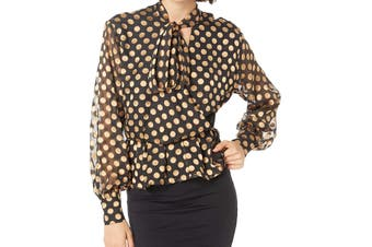 ASTR The Label Women's Blouse Black Size Medium M Metallic Polka Dot