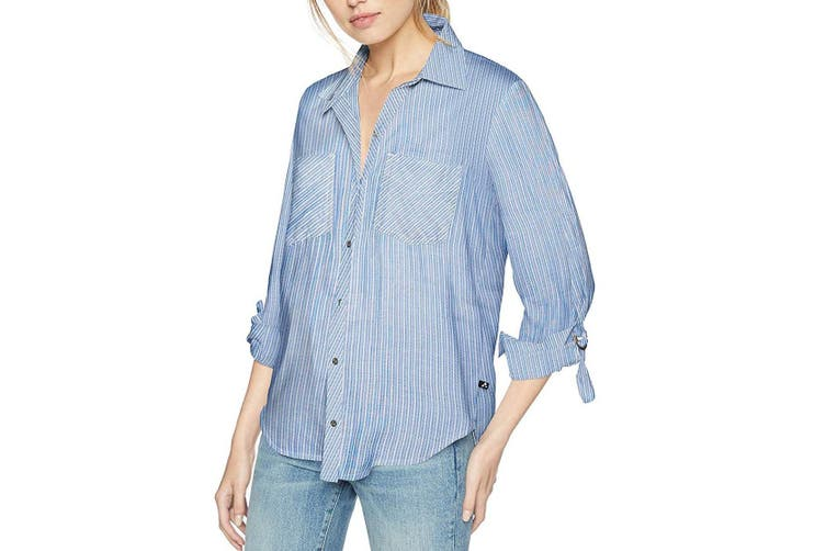 William Rast Women's Top Blue White Size Small S Button Down Striped