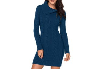 Azokoe Women's Sweater Dress True Teal Blue Size Medium M Cable Knit