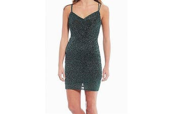 City Triangle Dress Green Size 9 Junior Sheath Shimmer Lace Up Back