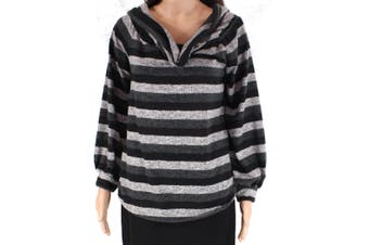 Blu Pepper Womens Sweater Gray Size Large L Cowl Neck Colorblock Stripe