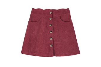 Amy Byer Purple Size XL Gril's Scalloped Waist Corduory Buttoned Skirt