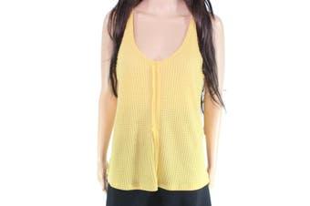 Blu Pepper Women's Top Yellow Size Medium M Tie Back Waffle Knit Tank