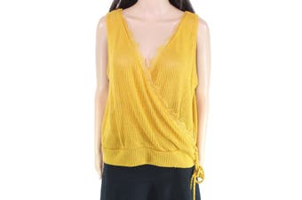 Blu Pepper Womens Top Yellow Size Large L Knit Draped Knitted Lace-Trim