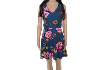 BCX Women's Dress Pink Green Size Small S A-Line Floral Print V-Neck