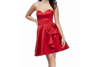 Blondie Nites Dress Bright Red Size 3 Junior A-Line Ruffled Bow