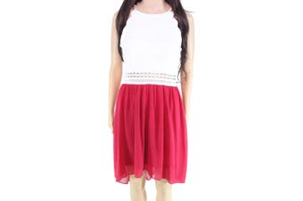 BCX Dress Chiffon Lace White Red Size 7 Junior Sheath Halter Illusion