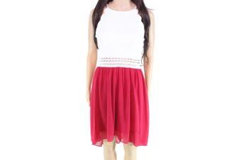 BCX Chiffon Lace White Red Size 9 Junior Dress Sheath Halter Illusion
