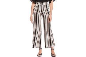 BCX Women's Pants Black Size Medium M Casual Pull-On Striped Wide-Leg