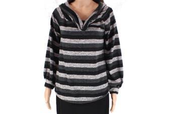 Blu Pepper Womens Sweater Gray Size Medium M Cowl Neck Striped Pullover