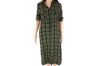 Cloth & Stone Women's Shirt Dress Green Size XS Plaid Side-Slit