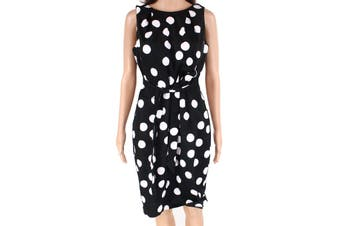 Coast Women's Dress Black Size 8 A-Line Polkadot Printed Belted