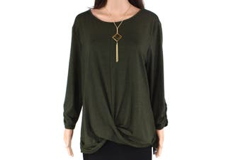 AGB Women's Top Green Size XL Twist-Front 2 Piece Jewelry Boat-Neck