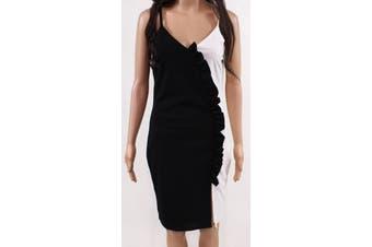Bailey Blue Dress Black Size Medium M Junior Sheath Contrast V-Neck