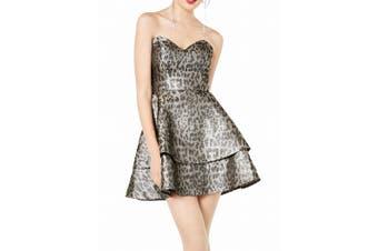 Blondie Nites Dress Black Size 7 Junior A-Line Cheetah Print Shimmer