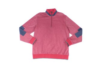 Bugatchi Mens Sweater Red Size Large L 1/2 Zip Mock-Neck Colorblock