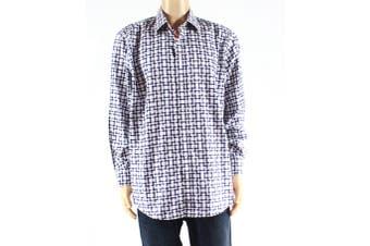 Bugatchi Mens Shirt Blue Size XL Button Down Shadow Check Print