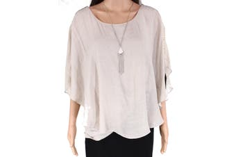AGB Women's Blouse Brown Size 1X Plus Ruffled Sleeves Scoop-Neck