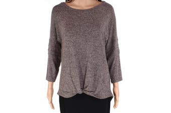 Chance or Fate Knit Top Brown Size Small S Junior Twist-Front High-Lo