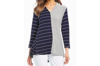 ali miles Women's Top Striped Colorblock Blue Size Small S Knit V-Neck