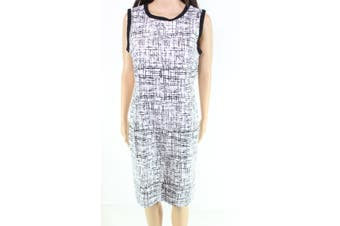 trisisto Women's Dress White Size 8P Petite Sheath Printed Ringer