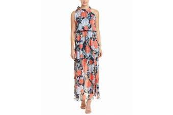 Abs Collection Women's Dress Blue Size Medium M Sheath Chiffon Floral