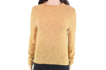 Chance or Fate Women's Top Yellow Size Medium M Knit Mock-Neck Ribbed