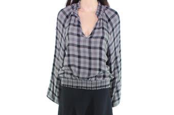 cloth & stone Women's Top Checkered Gray Size Large L Knit Split-Neck