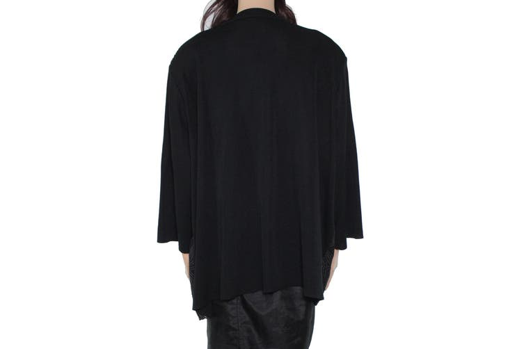 Ming Wang Women's Sweater Black Size 2X Plus Embroidered Cardigan