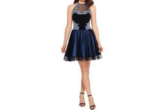 Blondie Nites Dress Blue Size 5 Junior A-Line Halter Embroidered