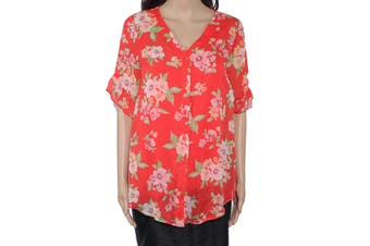 AGB Women's Blouse Bright Red Size Small S Floral Print Ruffle Sleeve