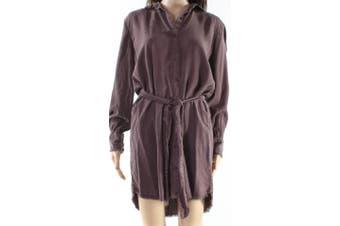 Cloth & Stone Women's Shirt Dress Purple Size Medium M Belted Collar