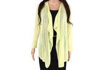 Emaline Womens Sweater Yellow Size Medium PM Petite Cardigan Open-Front