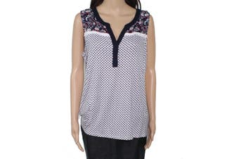Tribal Jeans Women's Top White Size Large L Knit Floral Print Henley