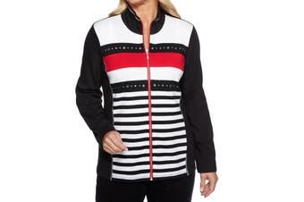 Alfred Dunner Women Jacket Black Size 6P Petite Studded Stripe Full Zip