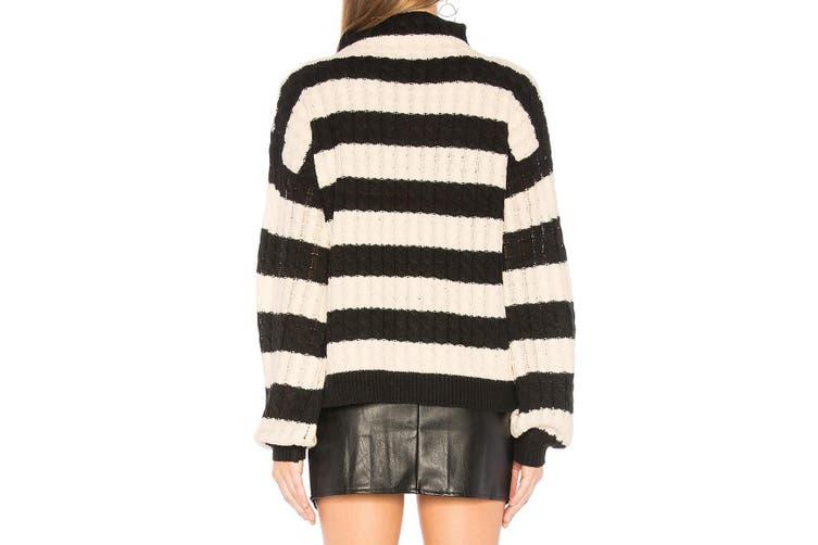 Line & Dot Womens Sweater Black Cream Size Small S Anna Colorblock Knit
