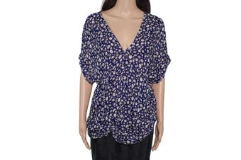 Blu Pepper Women's Blouse Navy Blue Size Small S V-Neck Floral Print