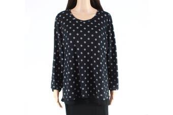 Bobeau Womens Sweater Black Size Large L Polka Dot Chiffon Layered Look