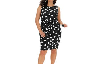 Coast Women's Dress Black Size 6 Sheath Spot Waist Tie Sleeveless