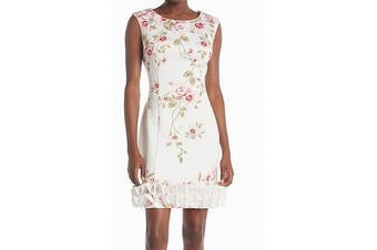 Donna Ricco Women's Dress White Size 10 Sheath Floral-Printed Ruffle