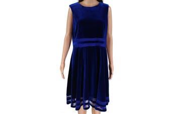 Calvin Klein Women's Dress Navy Blue Size 14 A-Line Velvet Striped