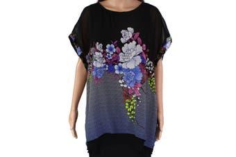 Citron Women's Blouse Black Size PXL Petite Floral Printed Layered