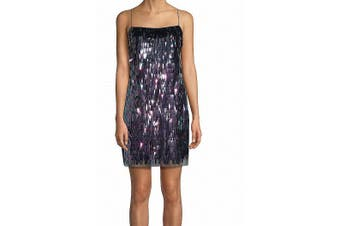Aidan Mattox Women's Dress Black Size 8 Sequin Flapper Shift Mesh
