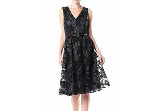Tommy Hilfiger Women's Dress Black Size 8 A-Line V-Neck Floral Belted