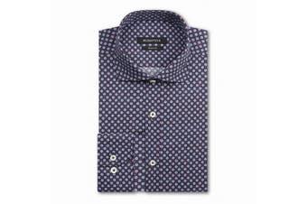 Bugatchi Mens Blue Size 2XL Geo Long Sleeve Shape Fit Dress Shirt